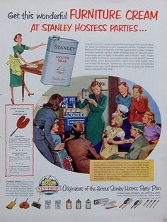 1952 Print AD Stanhome Stanley Home Products Furniture Cream Hostess Parties | eBay