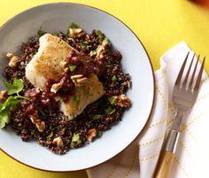 Dinner: Roast Cod With Pomegranate-Walnut Sauce http://www.rodalewellness.com/food/8-ways-to-eat-your-way-to-lean-muscle/dinner-roast-cod-pomegranate-walnut-sauce