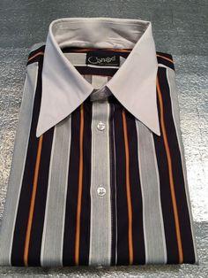 Vintage Canoe Knit Shirtmakers Long Sleeve Shirt - Striped - Size L 16-16-1/2 #CanoeKnitShirtmakers
