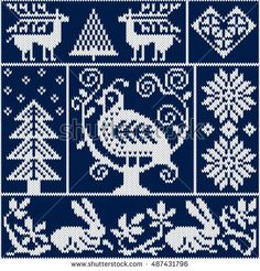 Seamless knitting pattern with bird, deer, fir, heart, rabbit, snowflake, and other winter elements. Blue and white Christmas knitted background in the scandinavian style. Holiday design. Vector