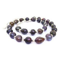 Collier perles biwa noires et argent 925