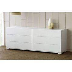 Beautiful Modrest Roma   Modern White Lacquer Double Dresser
