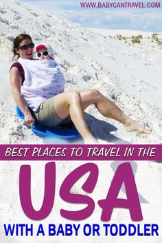 What are the best places in the US to travel with a baby or toddler? Here are over 20 places in the US that are perfect for travel with babies or toddlers. Some are specifically listed as best places to travel in the US with toddlers and some are both. Time to get inspired! #toddletravel #bestplacestotravel #babytravel Toddler Travel Activities, Travel Essentials, Travel Tips, Flying With A Baby, Traveling With Baby, Best Places To Travel, Summer Travel, Travel Usa, Trip Planning