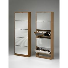 Tvilum Springfield 5-Drawer Shoe Cabinets with Mirror Drawer Fronts in Cherry - Wayfair