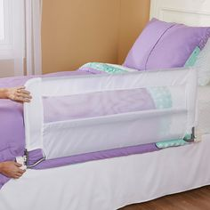 Restless little sleepers sometimes need a little extra protection, so our exclusive Babies R Us Swing-Down Bedrail allows for safe sleeping. The swing down feature allows the rail to swing down out of the way when not in use so it's very convenient for making the bed. The guard has a 20 inch sidewall that accommodates thick mattresses and is 43 inches Long for added security. It is extremely easy to set up with no-tool required which makes this the perfect hassle free bedrail.<br>&...