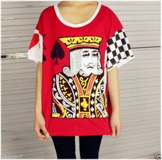 POKER card alice wonderland t shirt deck king cute long harajuku top queen red