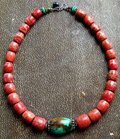 ~ this is simplistic, classic, and a timeless design that leads you too very old materials to create these beautiful beads...apple sponge coral and natural turquoise $140.00