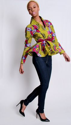 The Patricia African Print ~African Prints, African women dresses, African fashion styles, african clothing- I love the dressy jacket African Inspired Fashion, African Print Fashion, Africa Fashion, Fashion Prints, Fashion Design, African Prints, Fashion Styles, Fashion Models, African Attire