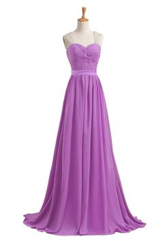 Elegant Purple Chiffon Bridesmaid Dresses Bruidsmeisjes Jurk Women Beaded Long Dresses Wedding Party Prom Gowns Robes Demoiselles D'honneur