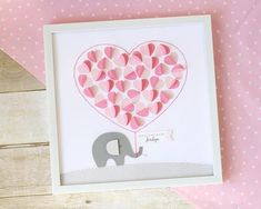 This Baby Shower Guestbook alternative doubles as both a sweet keepsake and personalized decor for babys nursery. Hand crafted from heavy weight, text. Elephant Nursery Girl, Elephant Baby Showers, Rick Rack, New Baby Girls, Baby Girl Gifts, 3d Design, Shadow Box, Elefant Design, Baby Elefant