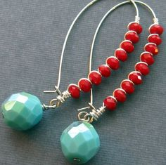 Fire and Water Turquoise and red glass and by southwinddesign