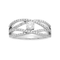 14k White Gold 5/8 Carat T.W. IGL Certified Diamond Openwork Engagement Ring, Women's, Size: 6.50