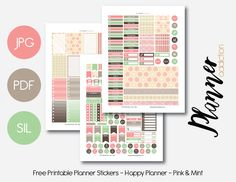 Free Printable Pink & Mint Weekly Planner Sticker Set {PDF, JPG and Silhouette Files} from Planner Addiction