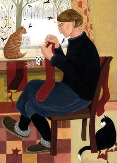 Making Christmas Stockings - Dee Nickerson British painter Contemporary art
