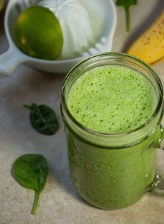 Green Smoothie with Lime and Cucumber - Refreshing green smoothie is the perfect way to start the day with 25% of your daily required fiber and almost 9 grams of protein for just 215 calories! - Feasting Not Fasting