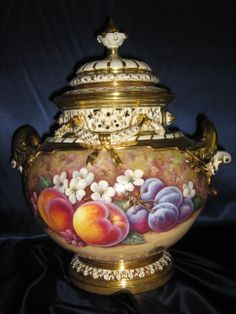Royal Worcester Lidded Vase with Peaches & Grapes, signed Roberts ...