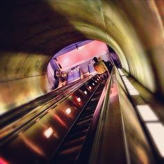 It's a trippy ride going underground (at the Woodley Park Metro Station in Washington, DC)