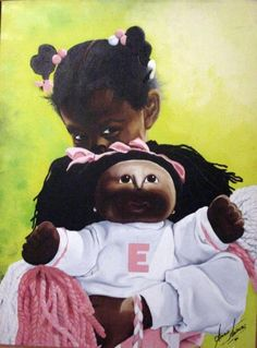 Black Art of Young Girl Playing with her Matching Cabbage Patch Kid  ''Ebony & Eboni'' oil on canvas 1989 by Gerald Sanders. CodeBlack Art