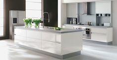 Contemporary White Kitchen Designs showing darker bench Modern Kitchen Tables, Modern Kitchen Design, Interior Design Kitchen, Kitchen Designs, Modern Design, Beautiful Kitchens, Cool Kitchens, Modern Kitchens, Gray And White Kitchen