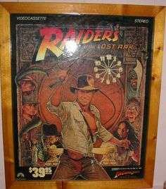 Vtg 1981 RAIDERS OF THE LOST ARK Promo VHS Display Video Store Clock Wood Framed