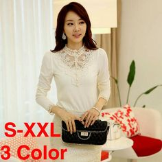 Find More Blouses   Shirts Information about Free Shipping 2014 Summer and  Autumn Lace Crochet Turtleneck Long Sleeve T shirt Korean Style Female Woman  ... b04e630e0
