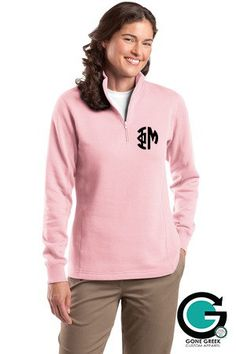 CUSTOM Ladies Monogram Quarter Zip -- Show off your Sorority Letters in Style!! by GoneGreek on Etsy