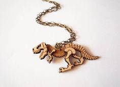 Dinosaur Necklace by Vectorcloud by Vectorcloud on Etsy, $36.00