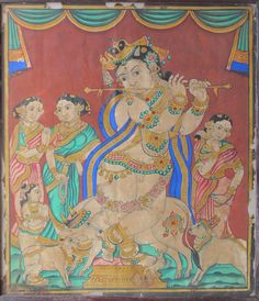 Venugopala Krishna with gopi, gopikas and cows. The peculiar green used in the sari and the jewellery is very typical of early Mysore paintings. Mysore style. Circa 19th century.