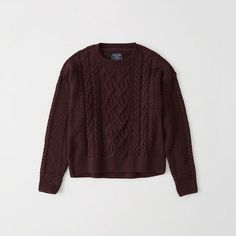 Abercrombie & Fitch Cable Crewneck Sweater ($58) ❤ liked on Polyvore featuring tops, sweaters, burgundy, crew neck sweaters, cable crewneck sweater, crew-neck sweaters, cable knit sweater and sweater pullover
