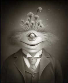 How can you not smile at this?  Travis Louie's Victorian and Edwardian Goblinesque world was inhabited by oddities, mythical beings, and otherworldly characters who had their formal portraits taken to mark their existence and place in society...