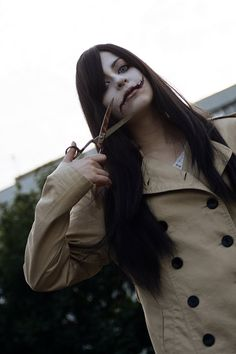 Kuchisake-onna/Slit-Mouthed Womancosplayer: Ascendead_MasterPhotos by Shanni make-up&hairstyle: Ascendead_Master Japanese urban legends: Kuchisake Onna Kuchisake Onna, Japanese Urban Legends, Japanese Scissors, Light Vs Dark, Something Scary, Horror Icons, The Uncanny, Scary Stories, Aesthetic Backgrounds