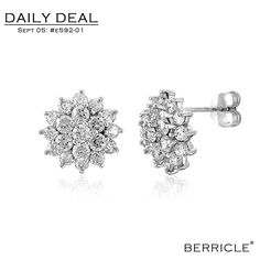 * Daily Deal * Today: $23.50 (Regular: $46.99)  50% OFF, Sept. 5, 2013 only  STERLING SILVER CUBIC ZIRCONIA CZ FLOWER STUD POST EARRINGS