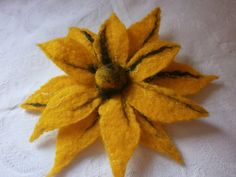 Flower broochYellow Felt brooch flower Felt by FahionFeltProducts