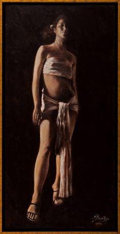 "Saatchi Art Artist Nikos Mourikis; Painting, ""Kariatide"" #art Saatchi Art, Artworks, Original Paintings, Statue, Workout, The Originals, Artist, Work Out, Artists"