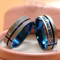 Thin Blue Line Couple Ring