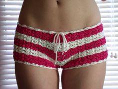 crochet swimsuit cover or undies or crazy short shorts Crochet Pants, Crochet Skirts, Crochet Clothes, Short Crochet, Hand Crochet, Knit Crochet, Crochet Lingerie, Crochet Bikini, Short Tejidos