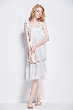7087568388  L150321 White 100% cotton women summer fashion sweet sexy cute bowknot lace  floral sleeveless sleepwear pajamas nightgowns sleepskirts