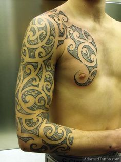 Maori-style sleeve and chest tattoo