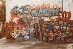 Graffiti from Hell's Kitchen NYC 1980s  I actually have pics of this. We lived across the street. When they painted over it I was soooo upset!! I loved the hand ball court just the way it was...