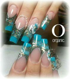 C Long Nail Art, Long Nails, Colorful Nail Designs, Nail Art Designs, Blue Nails, My Nails, Nail Ink, Mobile Nails, Queen Nails