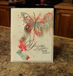 Slushy Butterfly by nwilliams6 - Cards and Paper Crafts at Splitcoaststampers SU inlks :Basic Gray, Bermuda Bay, Strawberry Slush SU Word Play stamp set