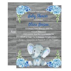 Boy Elephant Baby Shower Invitation - birthday cards invitations party diy personalize customize celebration