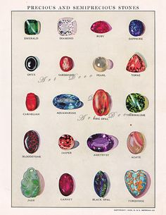 vintage illustration of  gemstones, a printable vintage illustration from ArtDeco on Etsy, a good source for digital images.
