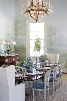 Dining Room Blue, Dining Room Design, Dining Rooms, Luxury Interior, Interior Design, French Country Dining Room, Opening A Restaurant, Victoria Magazine, Southern Homes