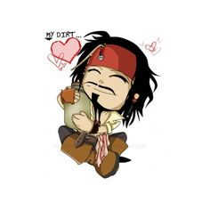 -CHIBI- Jack Sparrow ❤ liked on Polyvore featuring home, home decor, anime, backgrounds, cartoons and drawing