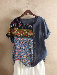 Fashionable Floral Print Patchwork Button Vintage T-shirt Online - NewChic Mobile T Shirt Vintage, Vintage T-shirts, Moda Vintage, Folk Fashion, Summer Tshirts, Floral Shorts, Casual T Shirts, Tshirts Online, Shirt Designs