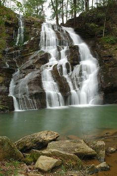 Brasstown Falls - Found on the southern edge of Sumter National Forest in Oconee County, Brasstown Falls is actually a chain of three separate cascades. This is the first falls known as Brasstown Cascades which drops about 50 feet and is a fairly easy quarter-mile hike from the parking lot.  (Photo by Steven Faucette of Williamston in 2011.)