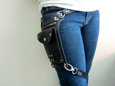 This modified and in a diff color - Road Warrior Unisex Black Leather Travel Bag Hip or Shoulder. $220.00, via Etsy.