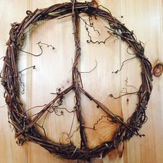 ☮ Native Vermont grapevines intertwined into a relaxing peace sign wreath, bringing serenity into your home, while adding a country bohemian chic touch. Click the link below to order yours today! ☮