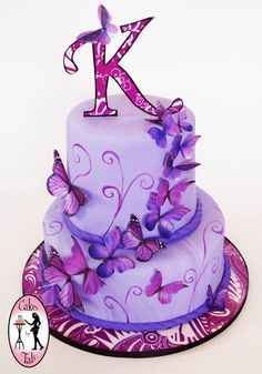 Purple butterfly cake - i like these butterflies for the other cake i have on my board Purple Butterfly Cake, Butterfly Birthday Cakes, 17 Birthday Cake, Butterfly Cakes, 17th Birthday, Butterflies, Purple Birthday Cakes, Butterfly Party, Birthday Ideas
